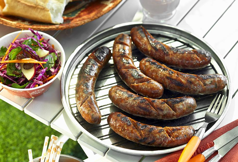 Gourmet sausages with coleslaw