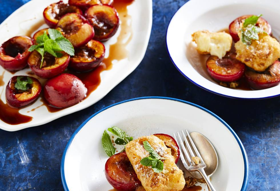 Vanilla custard fritters with balsamic baked plums