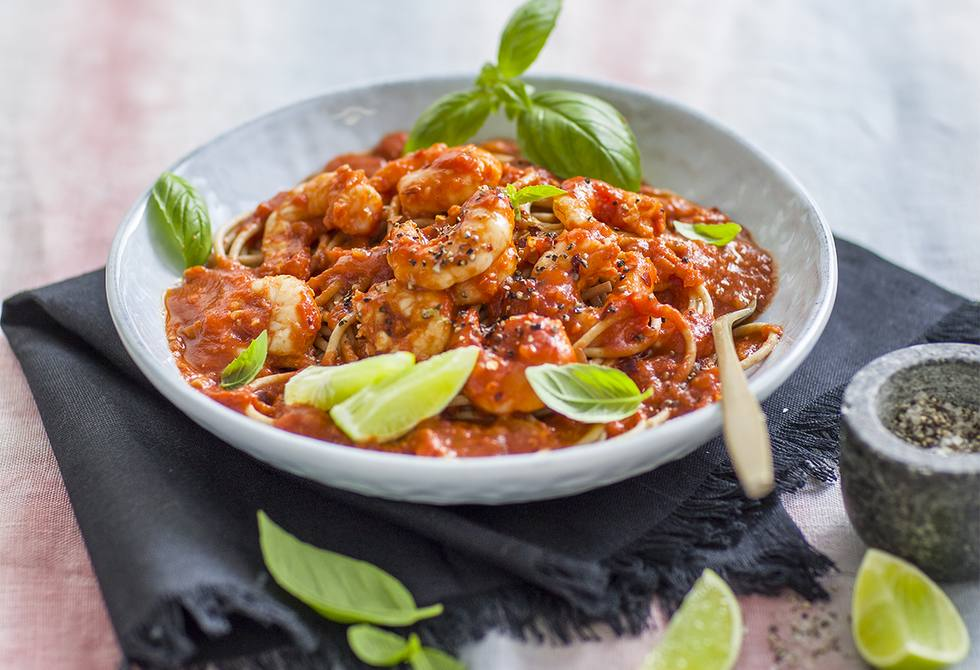 Prawn, chilli & lime wholemeal spaghetti