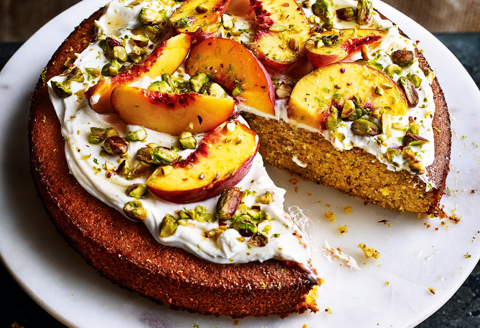 Peach, lime and pistachio polenta cake