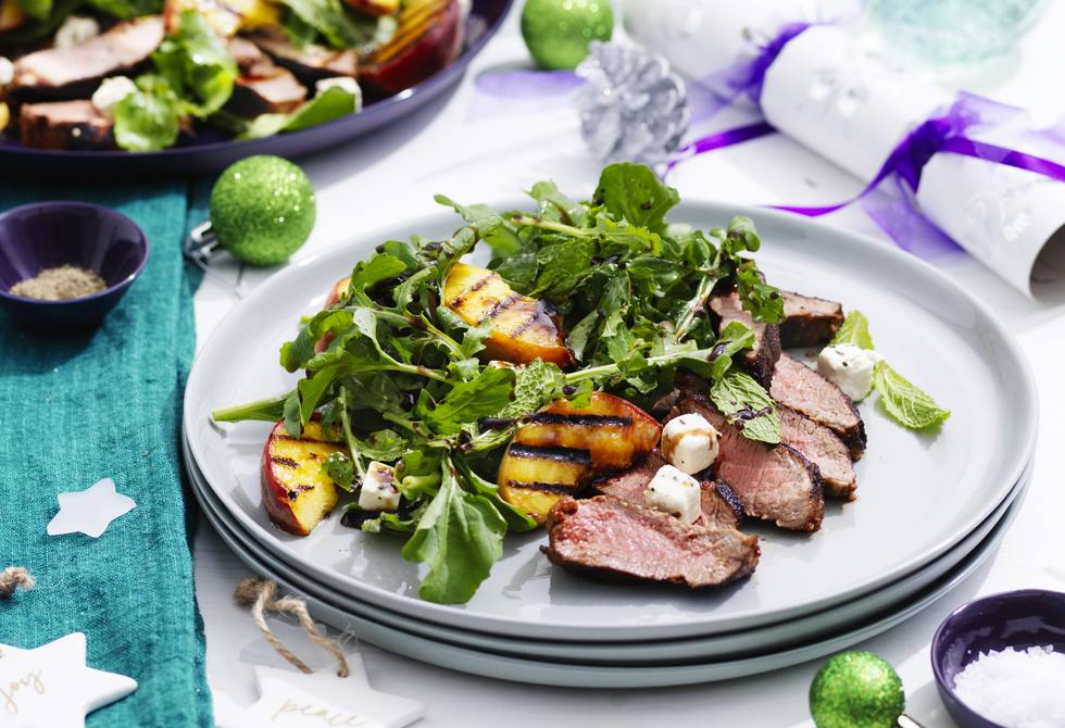 Lamb with chargrilled peaches, mint and feta
