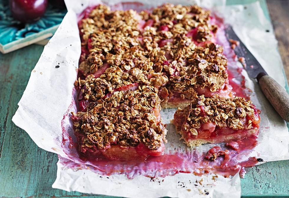 Plum and ginger crumble dessert slice