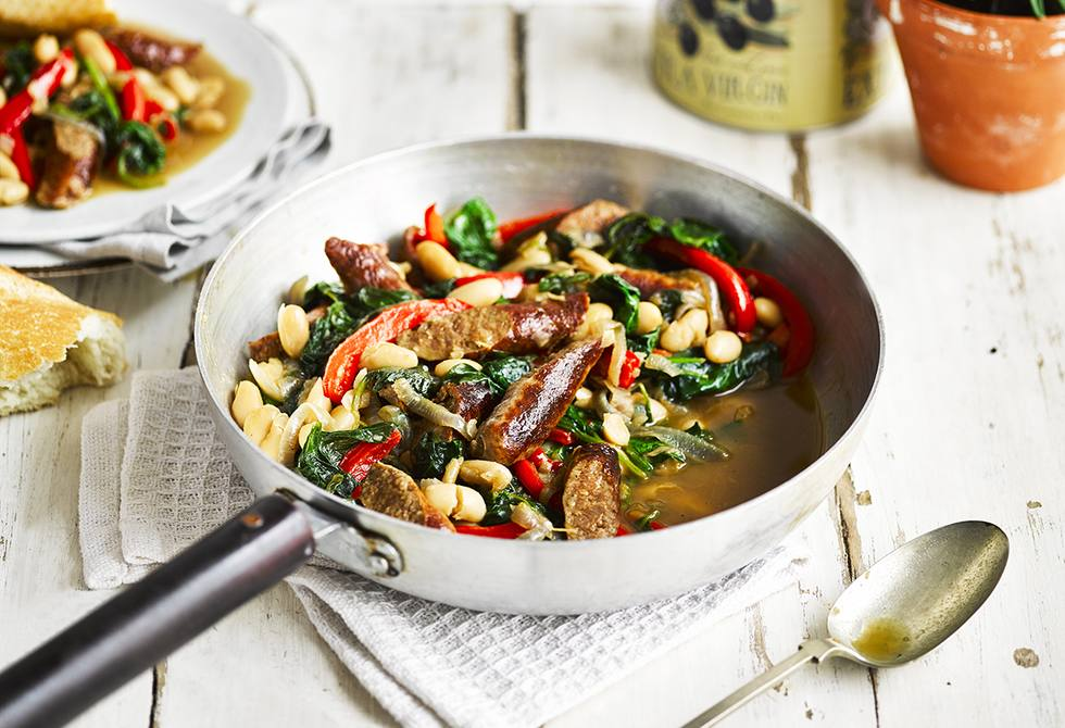 Beef sausages with cannellini beans and spinach