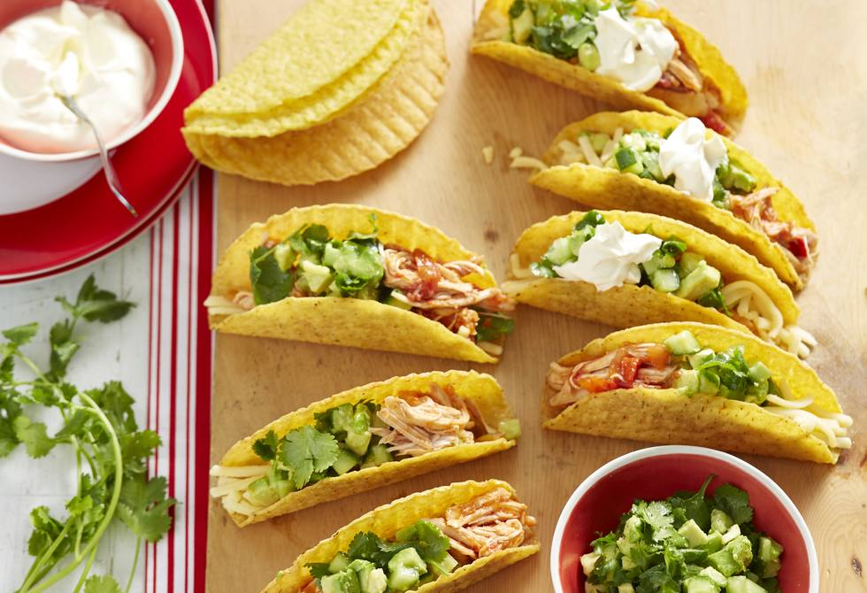 Chicken tacos with avocado and cucumber salsa Recipe ...