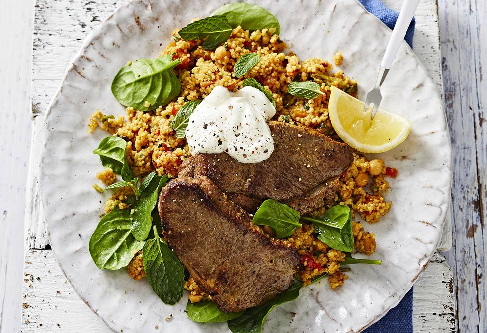 Lamb steaks with warm pumpkin couscous salad