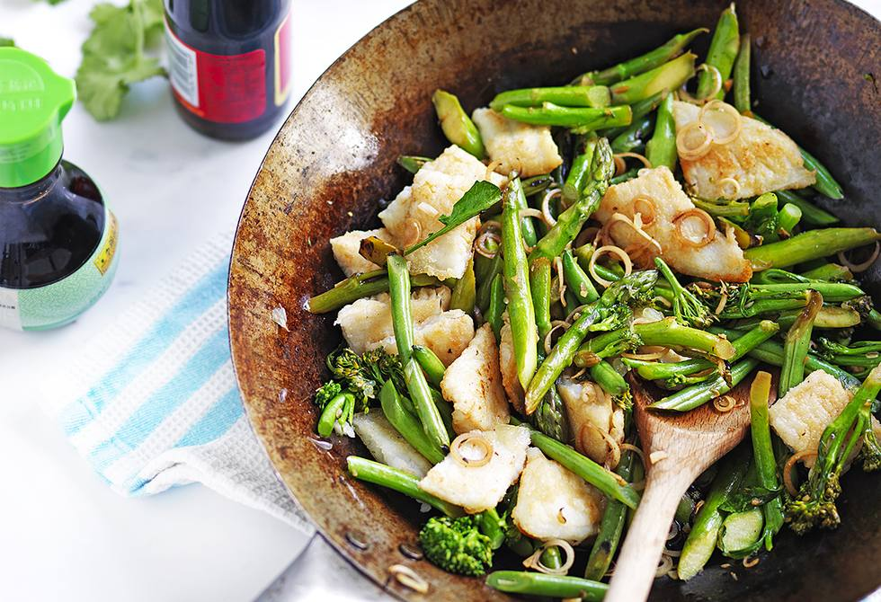 Thai-style fish with greens