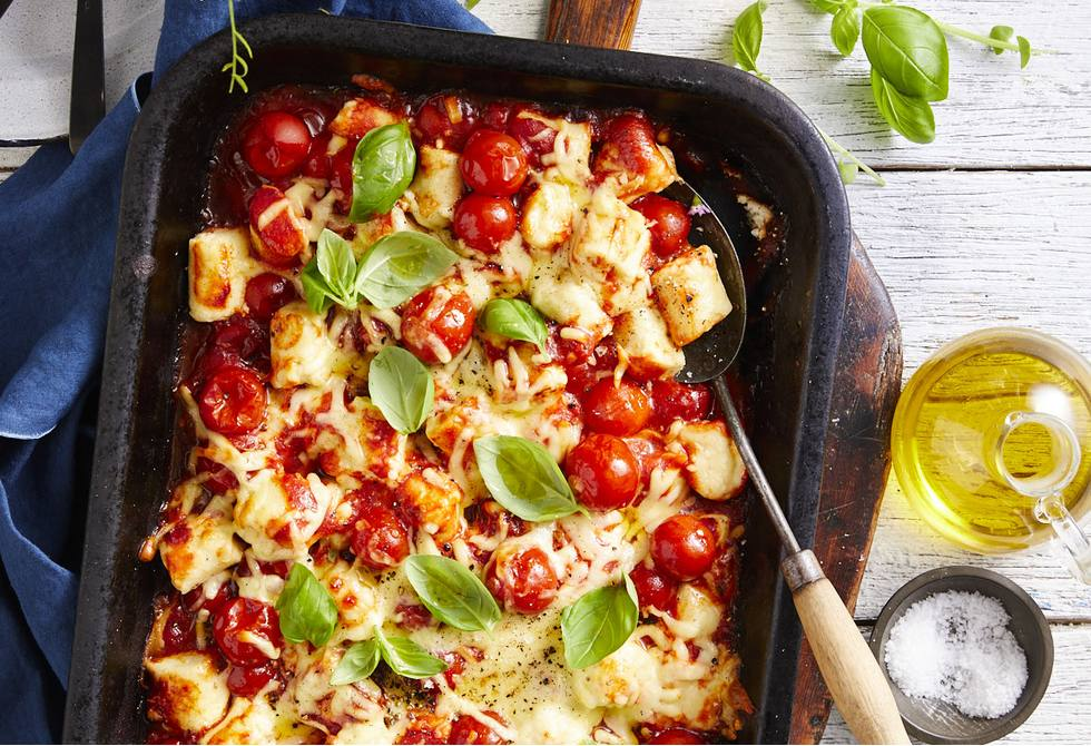 Baked ricotta gnocchi with cherry tomatoes