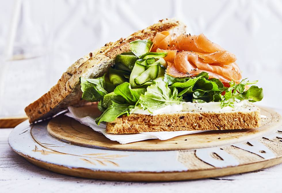 Salmon and pickled vegetable sandwich