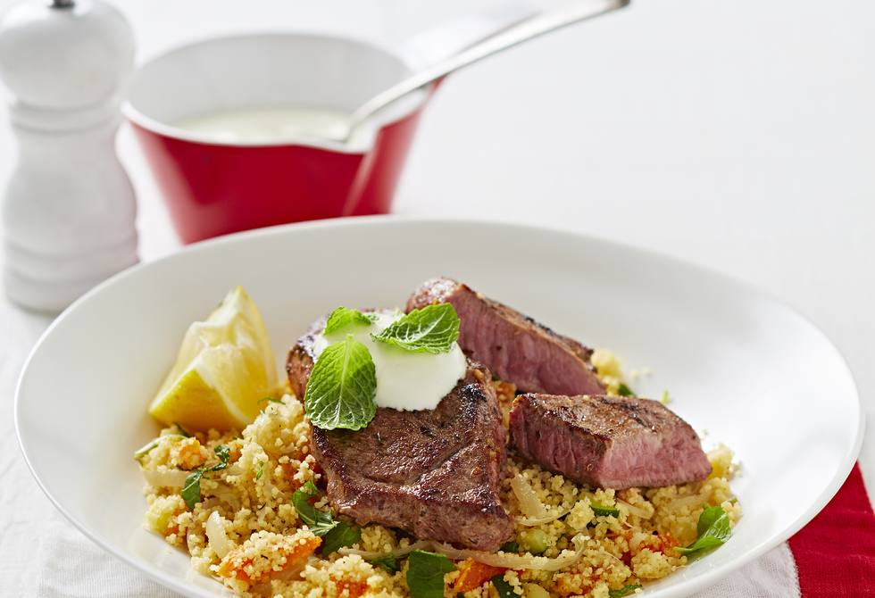 Lamb with apricot and zucchini couscous