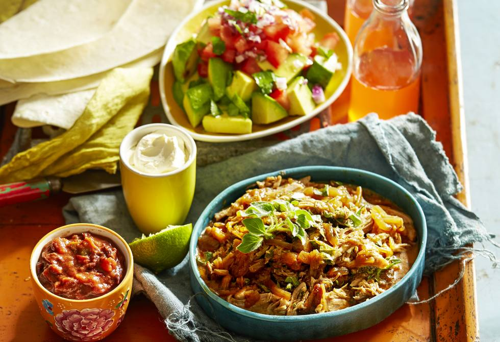 Slow-cooked Mexican pork with chunky guacamole