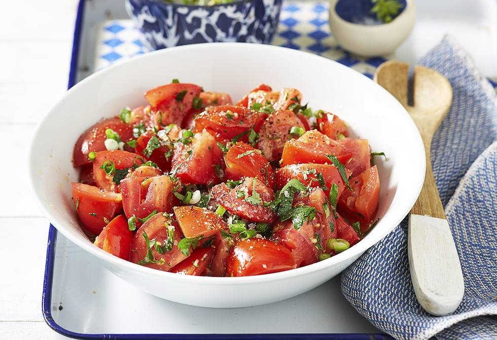 Marinated tomato and herb salad
