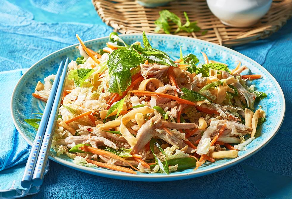 Asian chicken and crunchy noodle salad