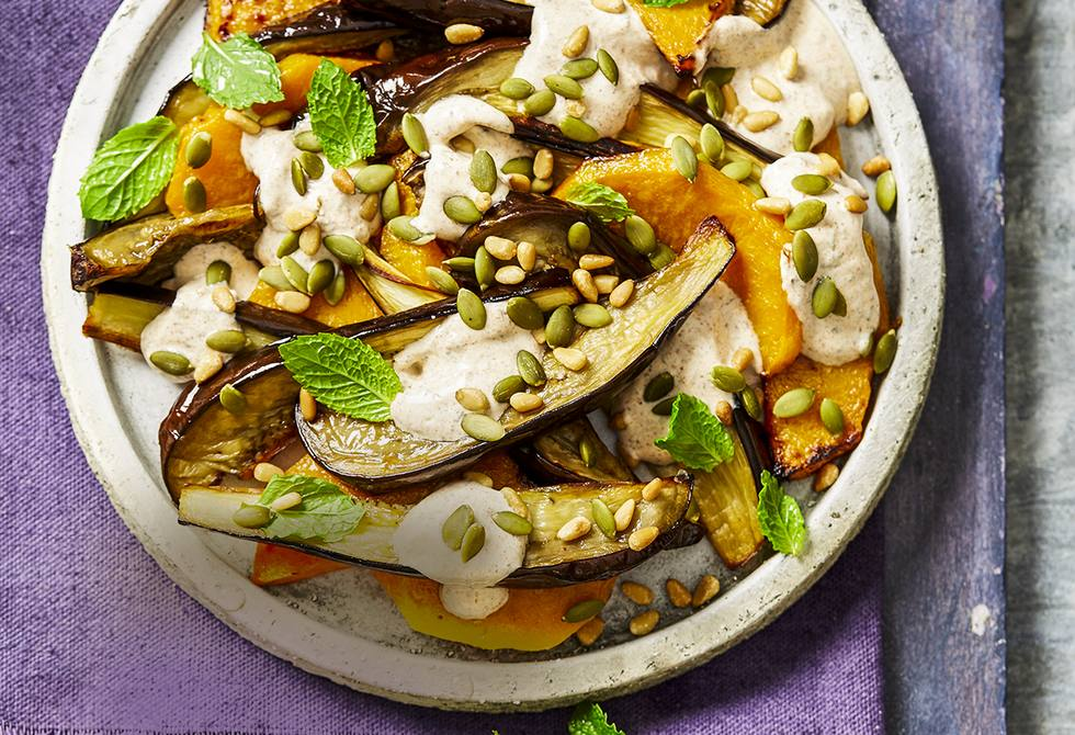 Roasted pumpkin and eggplant with spiced yoghurt
