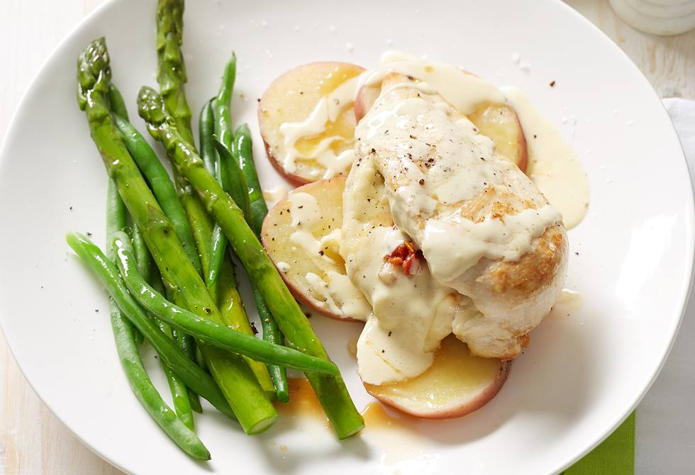 Dijon, tomato and cheese-stuffed chicken