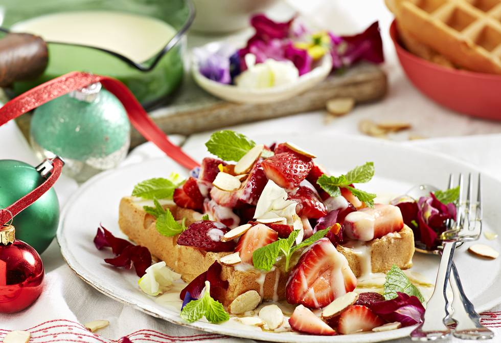 Almond milk waffles with almond custard and strawberry salad