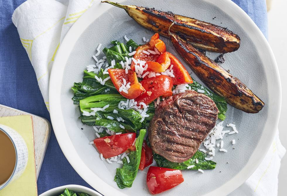Miso roasted eggplant with chargrilled beef