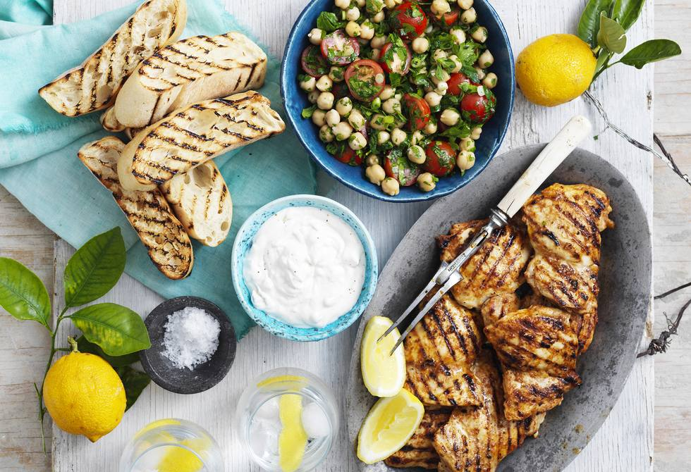 Turkish-style chicken with chickpea tabouli