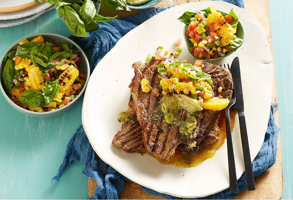 T-bone with grilled corn salsa and garlic-thyme butter