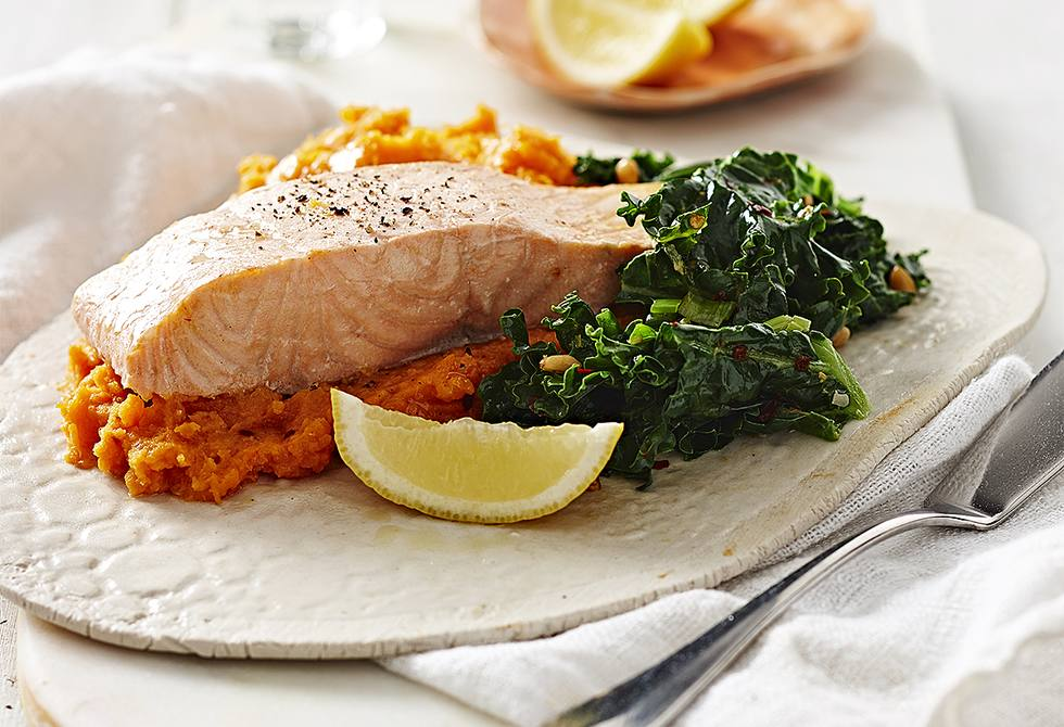 Poached salmon with pine nut kale & mash
