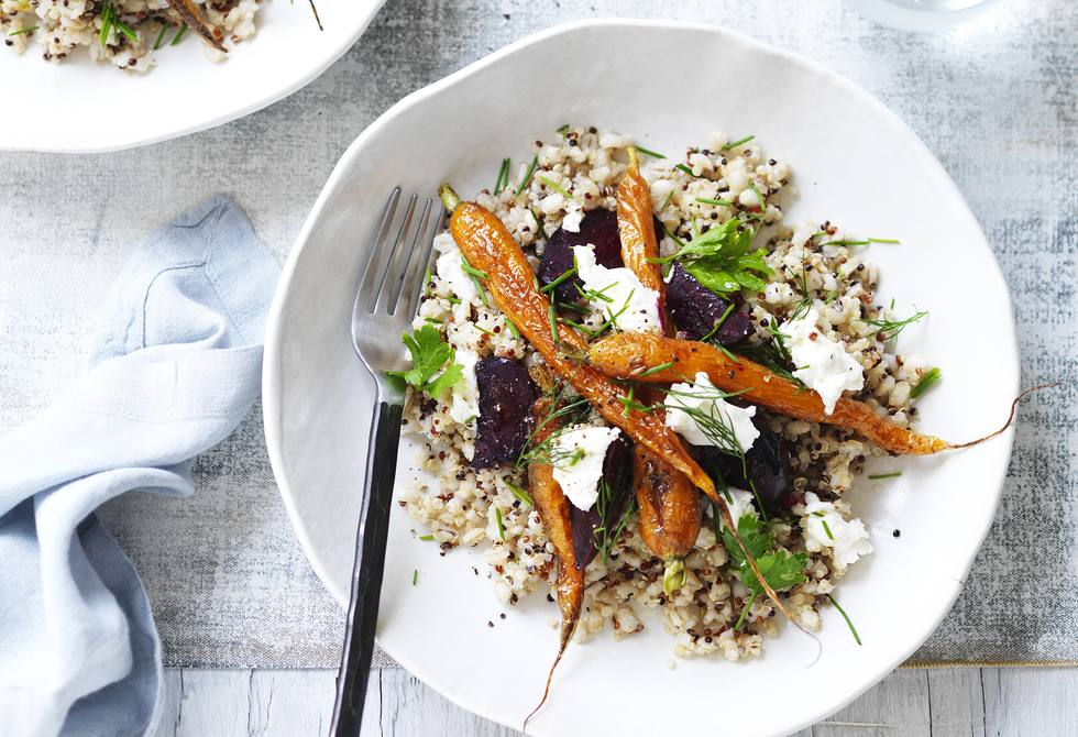 Barley and quinoa bowl with goat's cheese and roasted vegetables