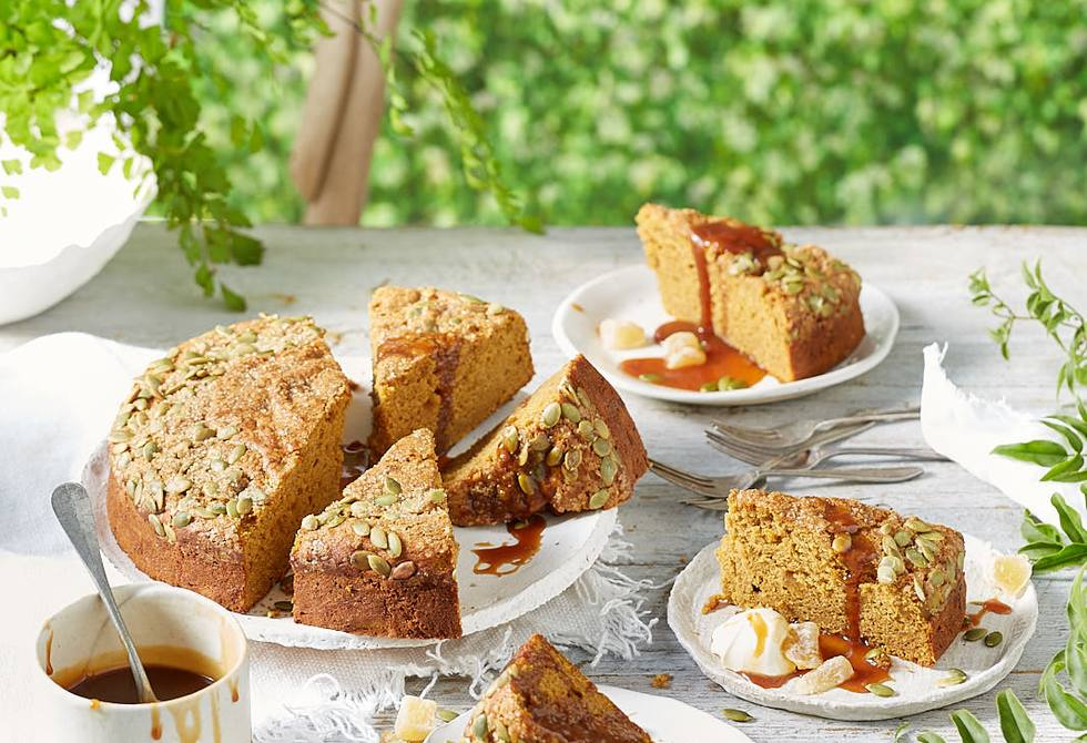 Honey roasted and spiced pumpkin cake with ginger caramel