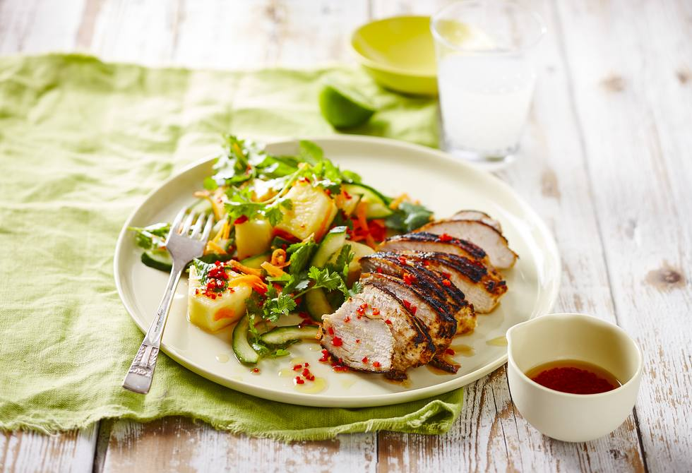 Thai chicken with pineapple salad