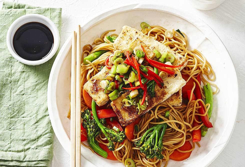 Salt and pepper tofu with vegetable noodles