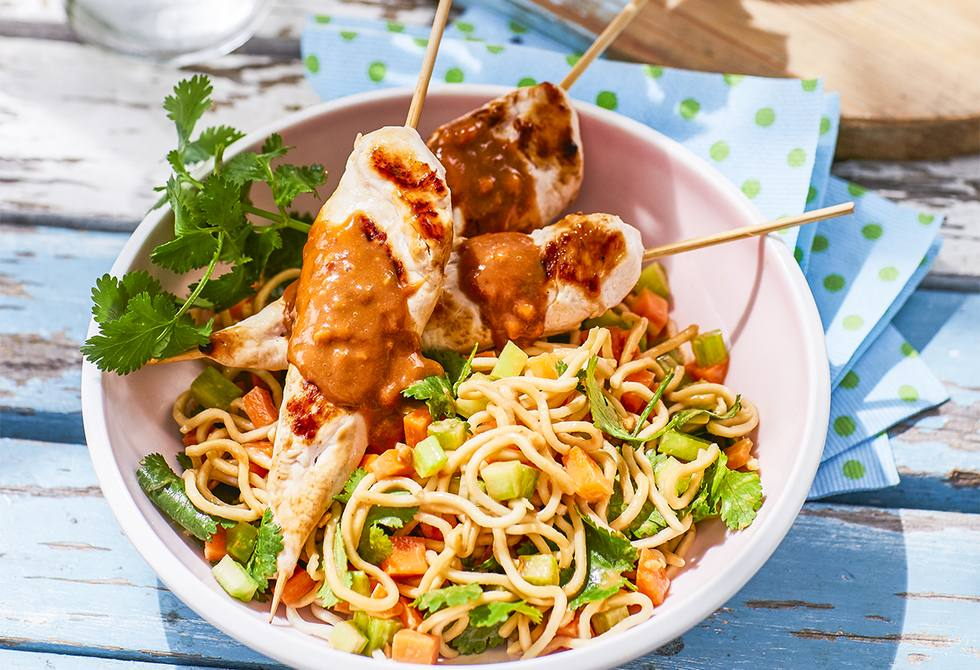 Chargrilled Chicken Satay With Peanut Sauce Recipe