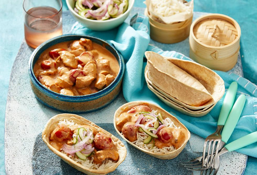 Butter chicken taco boats
