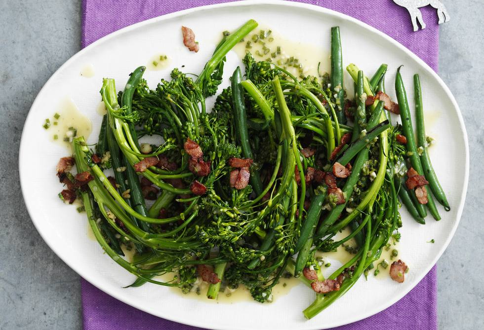 Wok-fried beans and broccolini with bacon