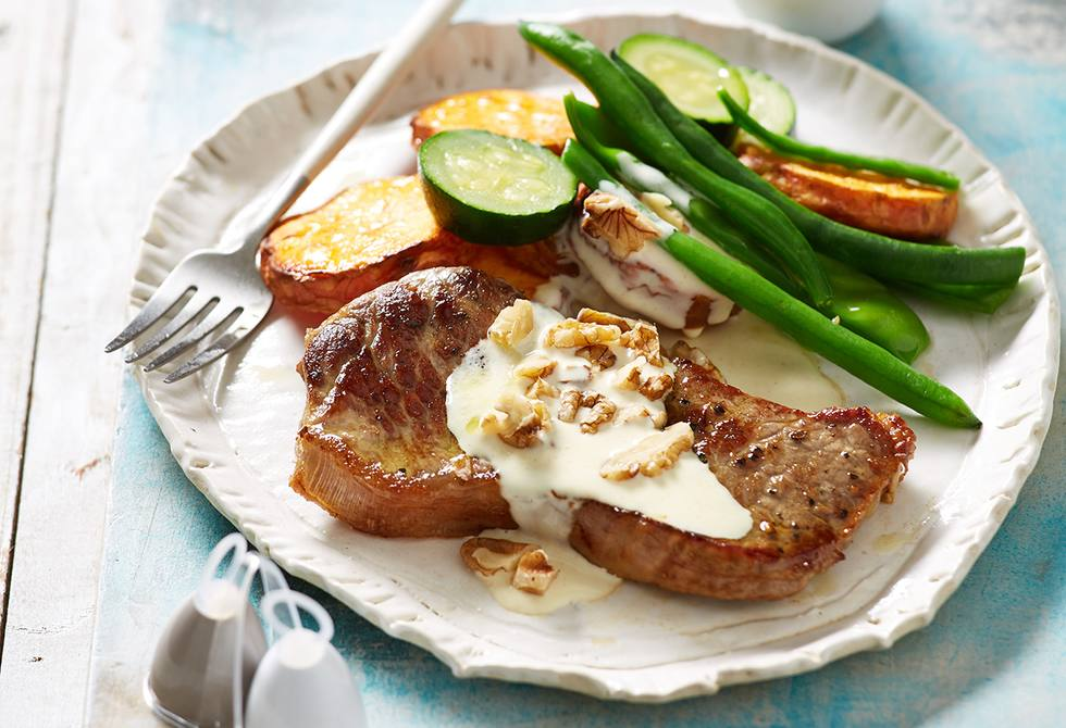 Beef steaks with dijon greens