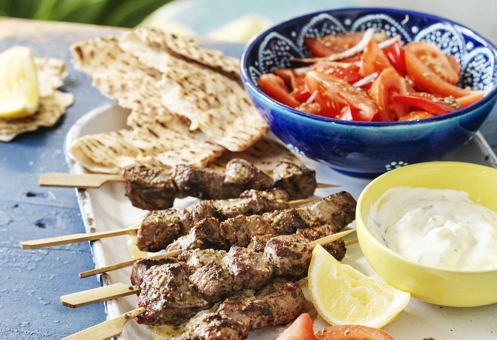 Middle Eastern lamb kebabs with tomato salad