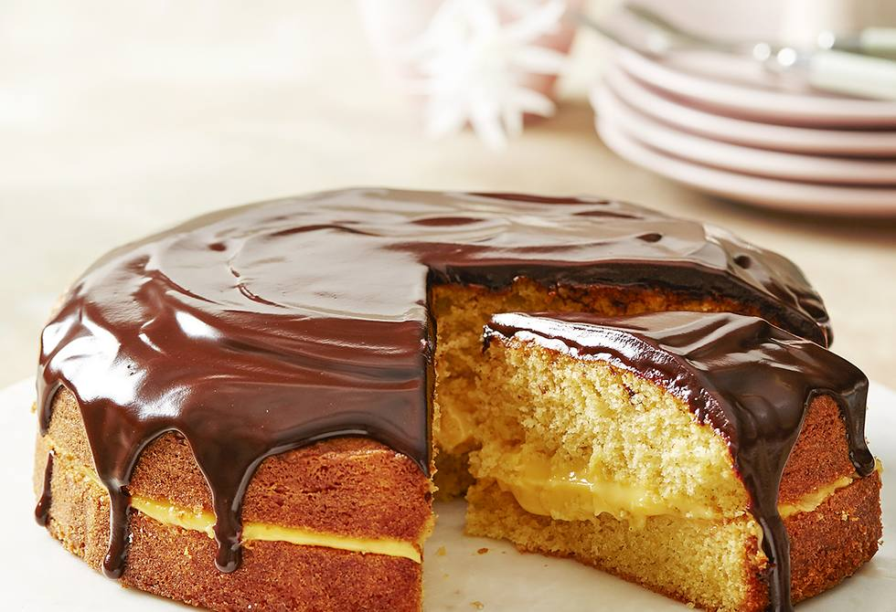 Chocolate-glazed Boston custard cake