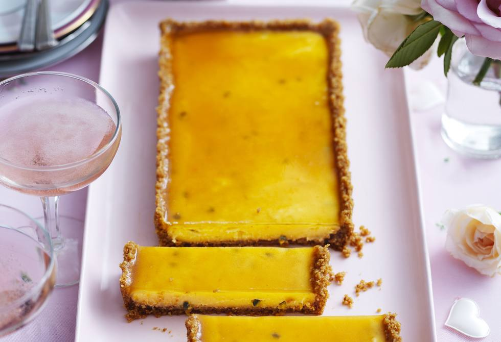 Passionfruit custard and apricot tart