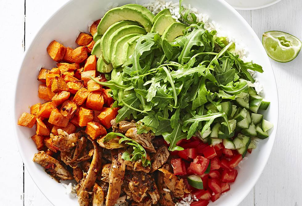 Pulled chicken rice bowls with avocado & lime