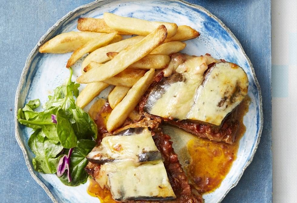 Moussaka beef steaks with chips