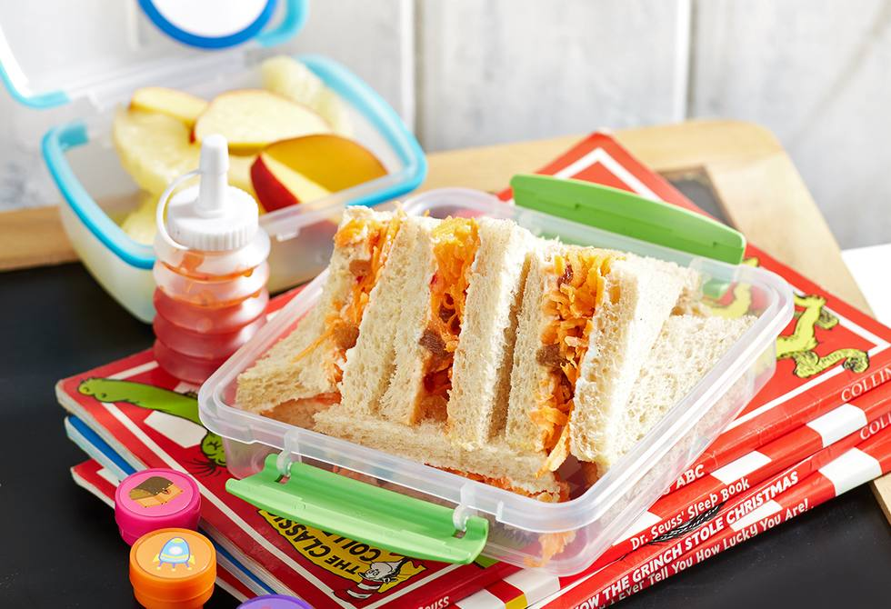 Ricotta, carrot and sultana sandwiches