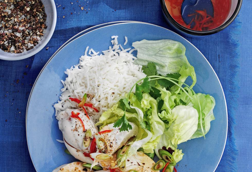 Chinese white-cooked chicken with ginger, spring onion & coriander