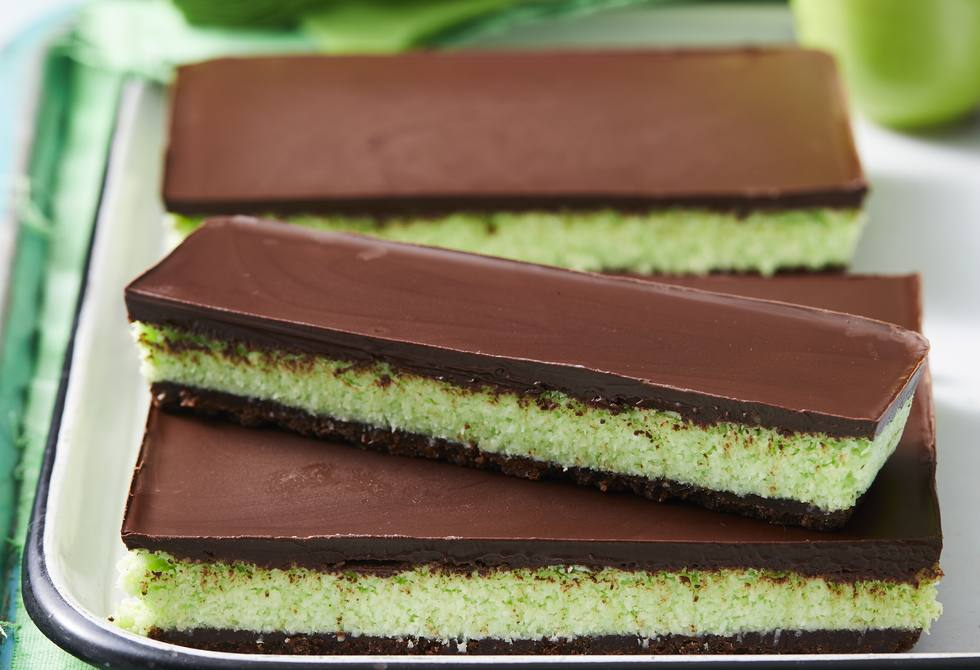 Choc-mint coconut slice