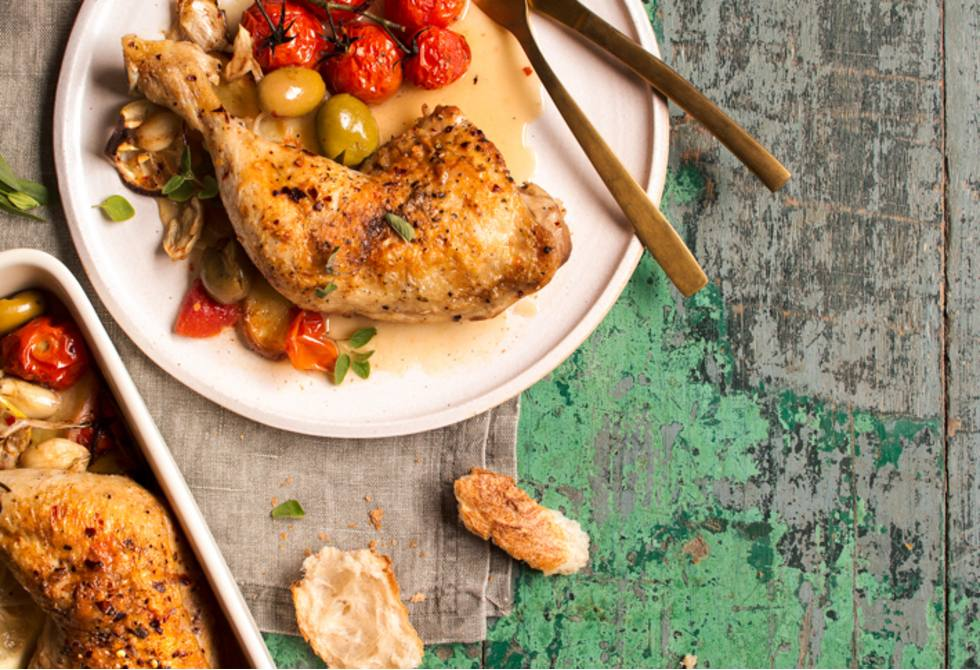 Italian braised chicken with lemon and olives