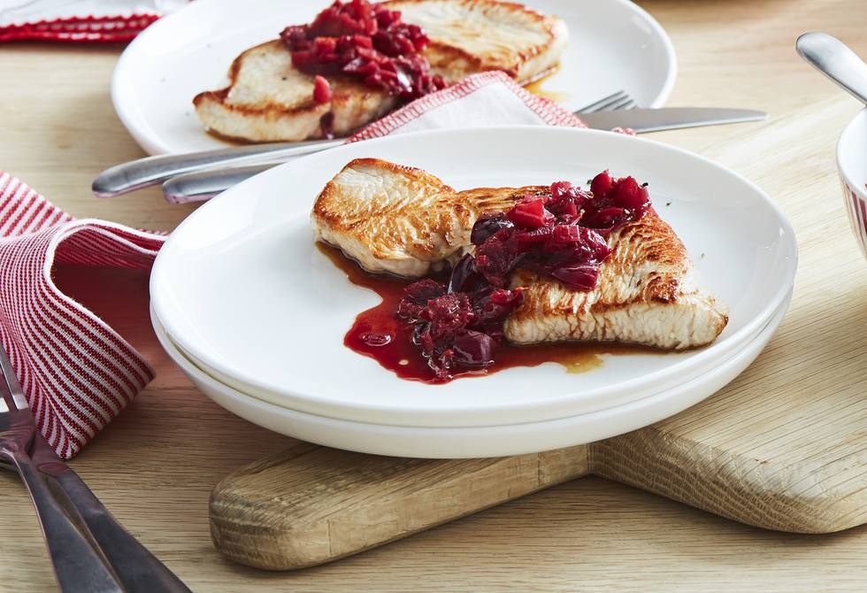 Turkey steaks with cherry and port sauce