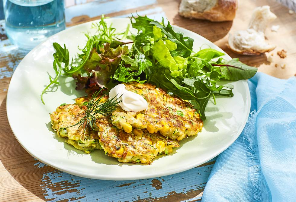 Zucchini, corn and dill fritters
