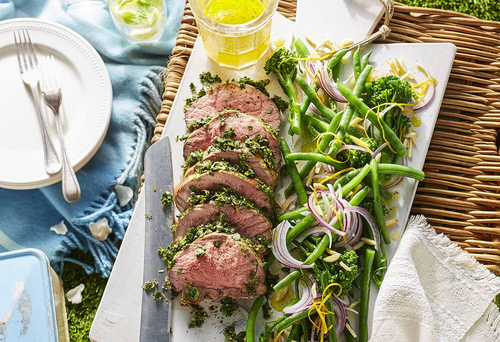 Peppercorn & herb crusted lamb with bean salad
