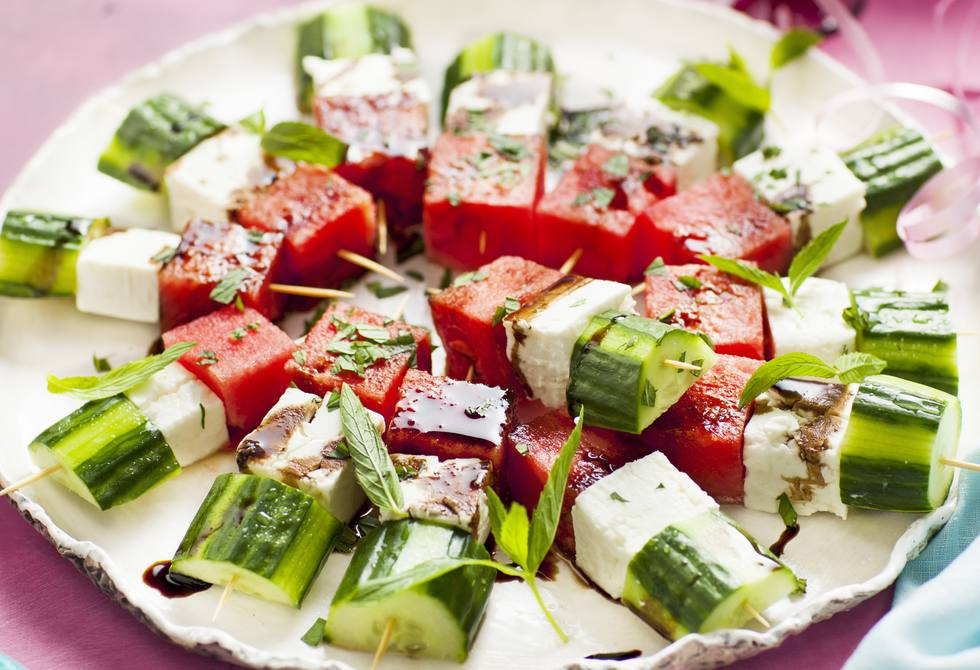 Watermelon, feta and cucumber bites