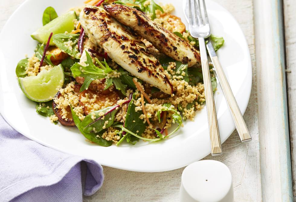 Coriander chicken with sweet potato couscous