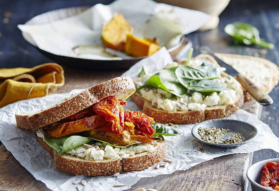 Roast pumpkin, ricotta & spinach sandwiches