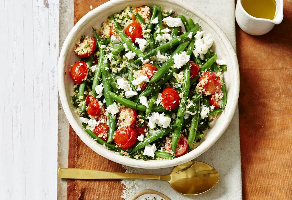 Green bean and tomato couscous with feta