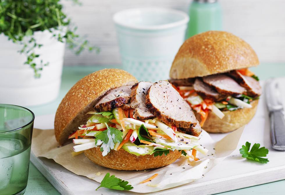 Pork and apple slaw sliders