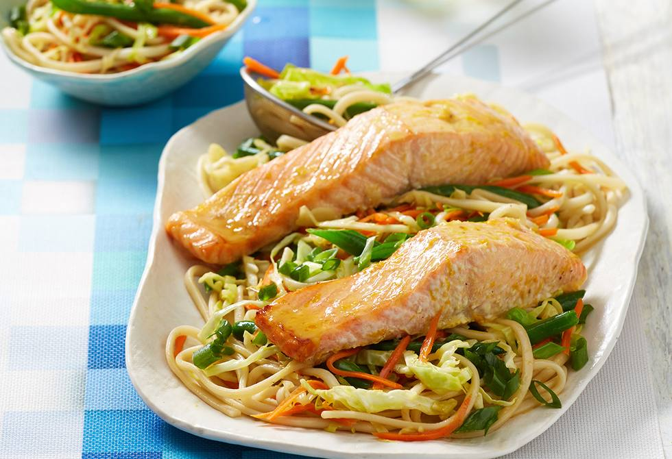 Honey orange-baked salmon with cabbage noodles