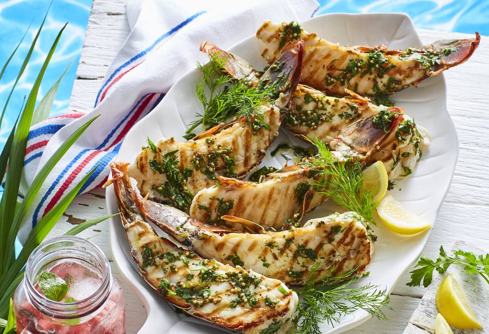 Lobster tails with herb vinaigrette